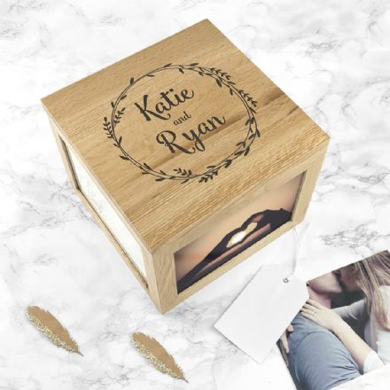 Personalised Couple's Oak Photo Cube Memory Keepsake Box